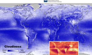 multi-year mean FRESCO effective cloud fraction and cloud pressure maps from SCIAMACHY.