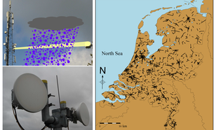 (Upper Left) Rainfall attenuates the signals transmitted from the circular antenna of one cellular communication tower to another. (Lower Left) A close-up of two antennas. (Right) Map of The Netherlands with the locations of 1,751 link paths. (1)