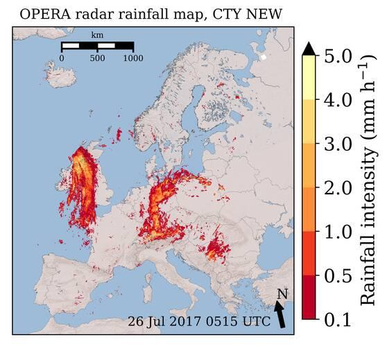 Figure 1: OPERA radar rainfall map