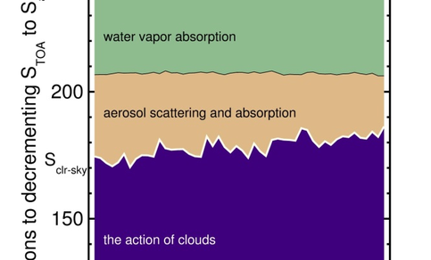 Figure 2. Contributions of individual constituents in reducing the top-of-the-atmosphere solar flux to the observed all-sky radiation.