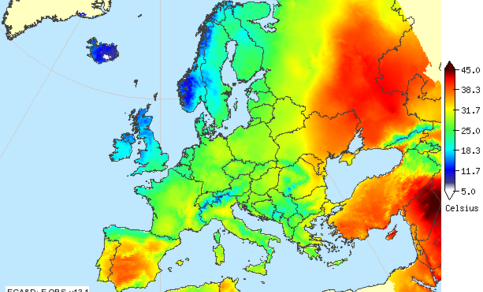 Figure 2: Maximum temperature of August 1, 2010, during the record-breaking heat wave that hit eastern Europe.