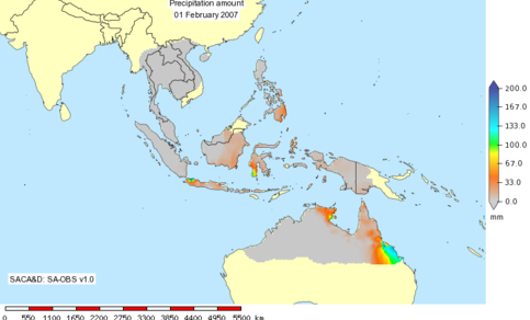 Fig. 2: Daily precipitation for Southeast Asia based on SA-OBS, the gridded version of the SACA&D database. Shown is precipitation for February 1 2007, in which Jakarta, Indonesia, was hit by extensive flooding.