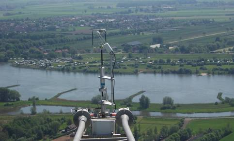 Sonic anemometer and open path  H2O/CO2 sensor at 180 m height, which measures turbulence down to scales of 0.2 m.