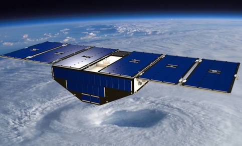 Artist's concept of one of the eight Cyclone Global Navigation Satellite System satellites deployed in space above a hurricane (from NASA's web page).