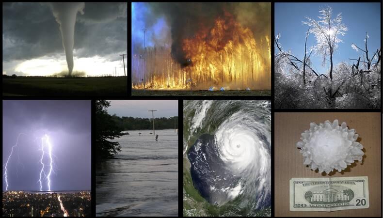 Collage van weerextremen
