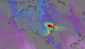 kaart bosbranden australie met satellietdata van tropomi