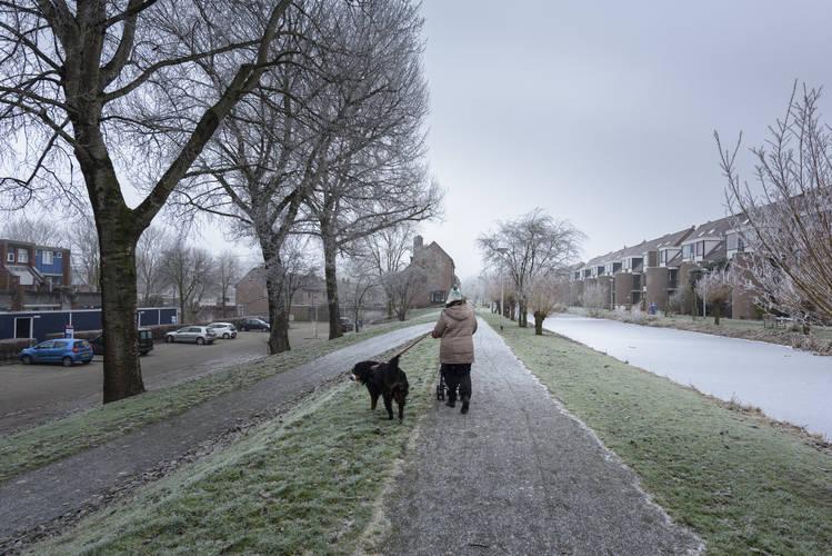 De kwestbare kade die na de extreme bui in 2014 toch opgehoogd is in overleg met omwonenden. ©Tineke Dijkstra