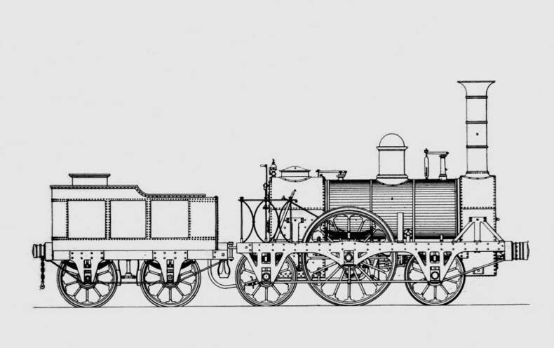 Locomotief van Sharp en Roberts uit 1843, die Buys Ballot waarschijnlijk heeft gebruikt voor zijn experiment