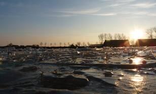 Tegen het einde van de gebroken winter van '11 lag op ondiepe plassen soms nog flink wat ijs maar schaatsen kon vrijwel alleen op de eerste dagen van de winter (foto: Jannes Wiersema)