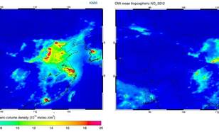 Luchtvervuiling (stikstofdioxide) boven China gemeten met OMI in het jaren 2005 en 2012. In deze periode is de hoeveelheid stikstofdioxide met ongeveer 35% toegenomen (Bron: KNMI)