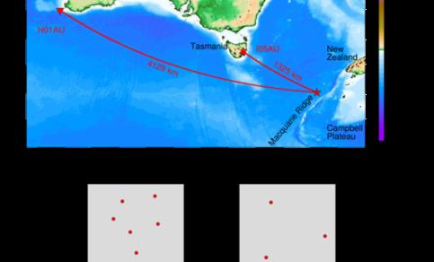 De met infrageluid gemeten aardbeving (rode ster) ten zuiden van Nieuw-Zeeland. H01AU is een array van drie hydrofoons in de oceaan op een diepte van 1 km. I05AU is een infrageluid array aan het aardoppervlak. Bron: KNMI
