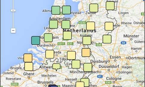 Alle individuele iSPEX metingen zijn op internet te zien op Google Maps