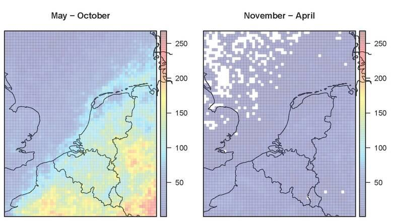 Bliksemactiviteit gemeten door Météorage (januari 2010 en oktober 2014). Zomer (mei-oktober; links), winter (november-april; rechts). De kleuren correpsonderen met het aantal 10-minuten intervallen met minstens één blikseminslag binnen10x10 km (©KNMI)