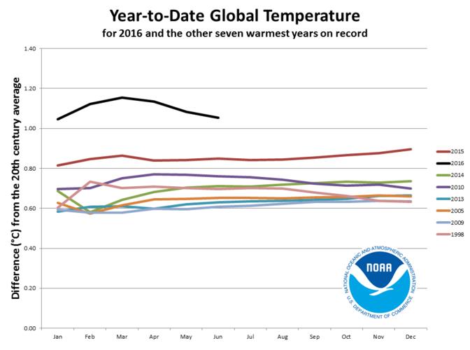 Maandelijks verloop van de wereldgemiddelde temperatuur in 2016 en in de andere zeven warmste jaren ©NOAA