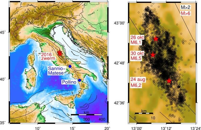 Kaart (links) met de locatie van huidige zwerm en voorbeelden eerdere zwermen en kaart met huidige zwerm (magnitude groter dan 2). ©KNMI