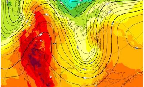 Lage druk en koele lucht in het oosten en westen van Noord Amerika, hoge druk en warme lucht in het midden en zuiden. Doordat het patroon de vorm heeft van de Griekse letter omega, Ω, en dagenlang kan aanhouden, heet dit een omega blokkade. Bron: ECMWF.