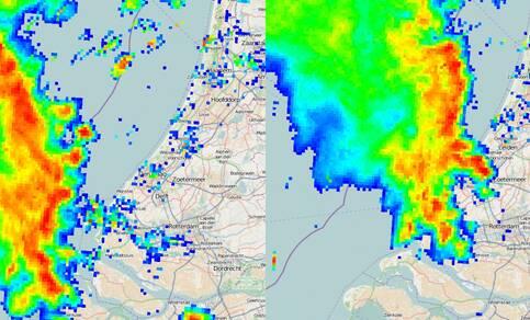 Twee beelden van de neerslagradar waarop de buienlijn te zien is