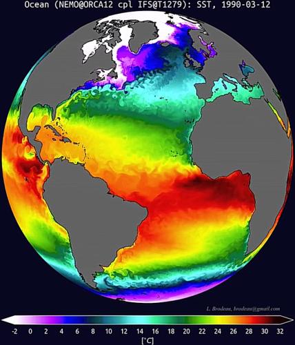 De zeewatertemperatuur in een klimaatsimulatie met het klimaatmodel EC-Earth.