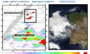 Waarnemingen van rook afkomstig van de bosbranden in Portugal van 18 juni 2017. Het beeld links toont rookdeeltjes die zonlicht absorberen afkomstig van de GOME-2 satelliet, rechts het bijbehorende beeld van de MODIS satelliet met in rood de brandhaarden.