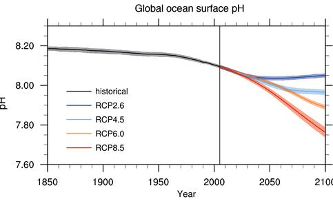 Alle klimaatscenario's laten een wereldwijde oceaanverzuring zien voor het einde van de 21e eeuw. Figuur: IPCC [2013].