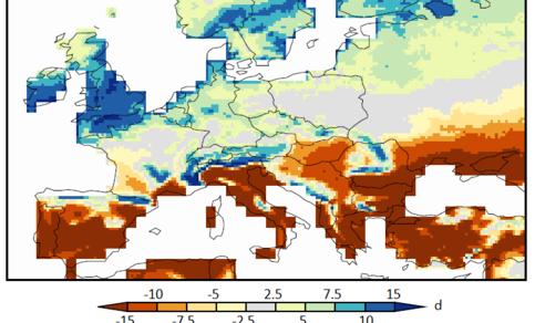 Figuur 1: Verandering van het aantal milde dagen in de zomermaanden juni-juli-augustus aan het eind van de eeuw (onder RCP4.5, GFDL HiFLOR klimaatmodel).