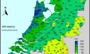 Totale hoeveelheid neerslag van 1 t/m 18 september.