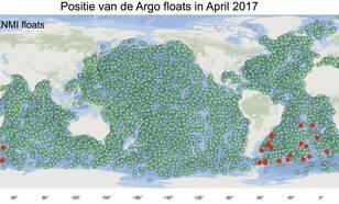 Figuur 1.  Posities van de ongeveer 4000 Argo floats in april 2017. De KNMI Argo floats zijn in rood aangegeven  (bron: KNMI en jcommops.org).