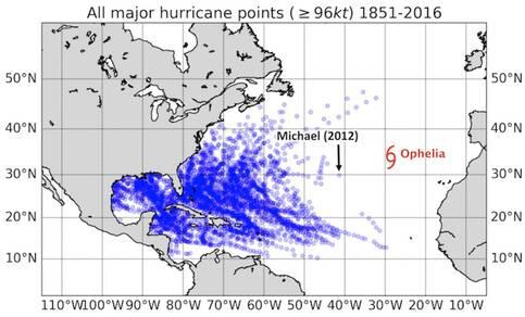 Figuur met locaties waar een categorie 3 orkaan is ontstaan