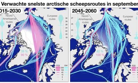 Figuur 1. Verwachte mogelijke scheepsroutes en hun duur op basis van berekeningen met klimaatmodellen. Lichtblauw voor gewone schepen, rose voor ijsbrekers. Links voor 2015-2030, rechts voor 2045-2060. Bron: Melia et al., Geophysical Research Lett., 2016.