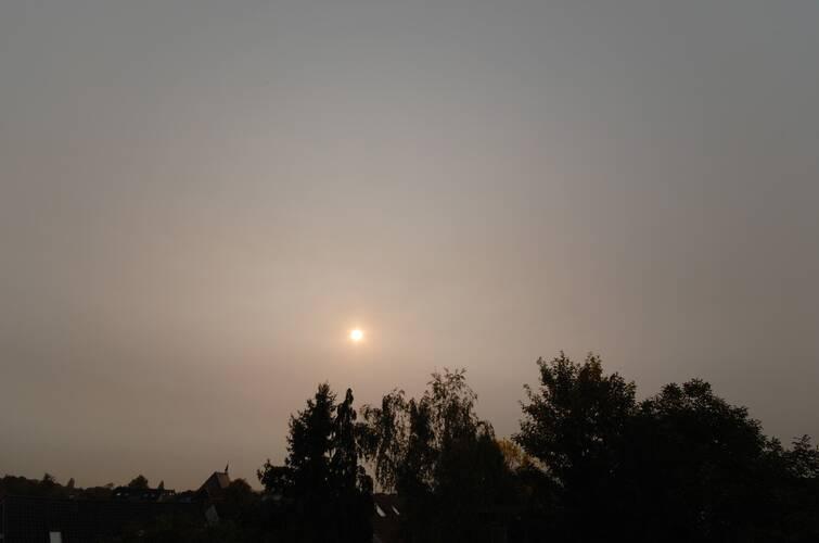 Rook afkomstig van bosbranden in Portugal en Spanje dimde het zonlicht op 17 oktober waardoor de temperatuur enkele graden lager uitviel  ©Peter Paul Hattinga Verschure