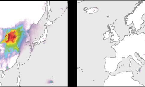 Figuur 1. Gemiddelde hoeveelheid atmosferisch SO2 gemeten met het OMI satellietinstrument voor de periode 2005-2014 in Oost Azie (links) en Europa (rechts). Voor de kleurenschaal zie Figuur 2. Bron: KNMI.