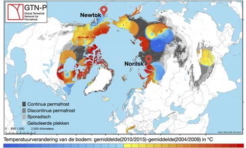 Kaart met permafrost gebieden