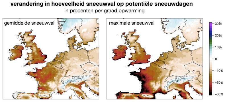 Berekende verandering in sneeuwval op koude dagen