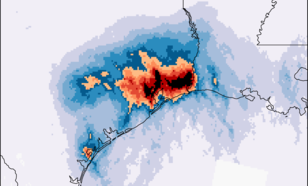 Kaart met de hoeveelheid regen die in drie dagen gevallen is in millimeter per dag