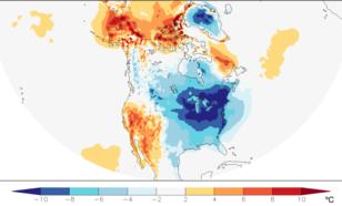 Figuur 1: Temperatuurafwijkingen van normaal (1981–2010) gemiddeld van 25 december 2017 tot 7 januari 2018. Bron: ECMWF analyses ten opzichte van ERA-interim.