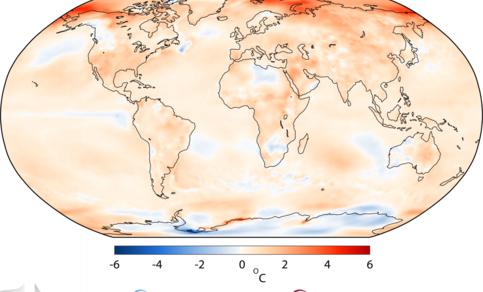 Figuur 1. Temperatuurverschil (lucht op 2m hoogte) tussen 2017 en het langjarig gemiddelde van 1981-2010. Spitsbergen was gedurende verscheidene maanden meer dan 6 °C warmer. Bron: ECMWF, C3S.