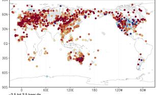 Figuur 1: trend in de temperatuur van de warmste dag van het jaar als veelvoud van de wereldgemiddelde opwarming. Bron: NOAA/NCEI/GHCN-D stations met minimaal 50 jaar data.