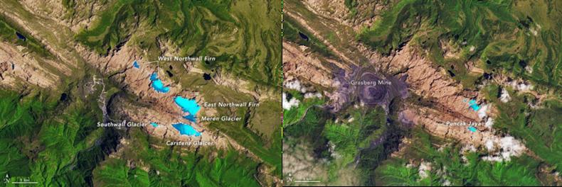 Figuur 1: Gletsjers (blauw) in het Sudirmangebergte bij Pucak Jaya, links in 1988 rechts in 2017
