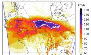 Figuur 1. Hoogste windstoot van 18 januari 2018 in de Harmonie verwachting van 0 uur die dag. De witte lijn geeft de gebieden aan waarbinnen windstoten van 118 kilometer per uur of meer werden verwacht. Bron:KNMI.