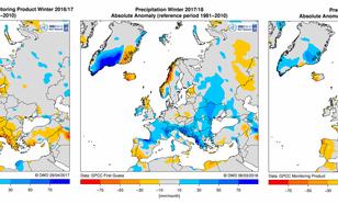Kaarten met anomalie in neerslaghoeveelheden in Europa.