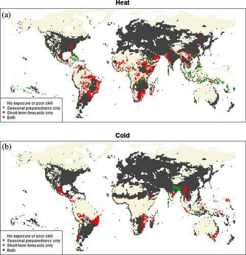 Wereldkaart met gebieden waarin warmte- of koude extremen goed te anticiperen zijn.