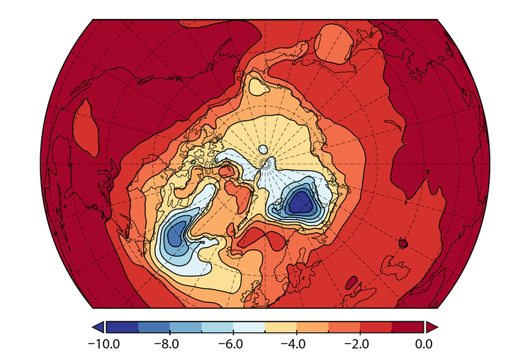 Effect van de toename (met 300%) van Arctische neerslag op de temperatuur nabij het aardoppervlak (in °C), gesimuleerd door het KNMI-klimaatmodel EC-Earth.