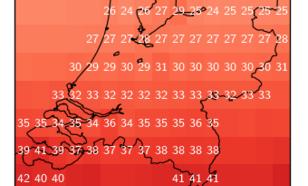 Figuur 1. Het gemiddeld aantal dagen per regio in mei, juni en juli dat zonkracht 7 of hoger wordt gehaald, mits het niet bewolkt is. Periode 1983-2015.