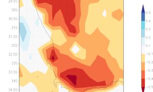 Figuur 1. De afwijking van normaal van de regen in 2015–2017, -0.3 betekent 30% minder regen dan in 1998–2014. Bron: NCEP CMORPH satelliet-analyse.