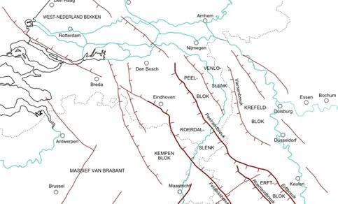 kaart met de belangrijkste tektonische structuren in de ondergrond van zuidwestelijk Nederland, noordoostelijk België en het westen van Noordrijn-Westfalen