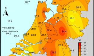 kaart van nederland met minimumtemperaturen tussen 2 uur 's nachts op vrijdag 27 juli en 2 uur 's nachts op zaterdag 28 juli 2018