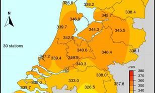 grafiek met som van de zonneschijnduur in De Bilt in juli 2018