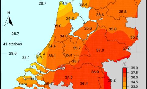 Maximumtemperatuur gemeten op donderdag 26 juli van dit jaar (bron: KNMI).