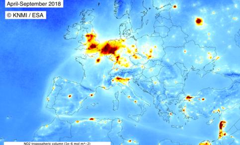 Beeld van de huidige NO2-concentratie in Europa. Metingen van Tropomi zijn gemiddeld over de periode april tot en met september 2018.