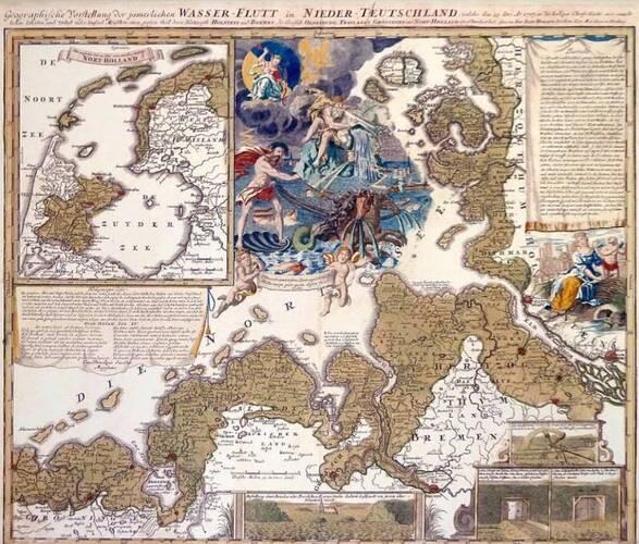 Kaart van de Kerstvloed 1717 van de Neurenberger cartograaf J.B. Homann.
